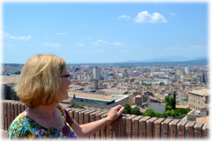 Looking out over the city of Girona