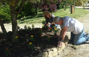 Beautifying the grounds as we prepared for the Open House event