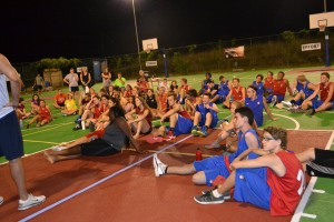 Nightly meeting on the courts after the games