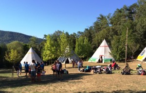 Campers arriving for camp and gettig settled in their tepee for the week